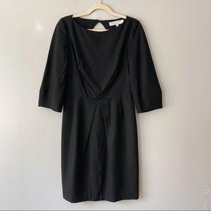 Trina Turk Black Virgin Wool 3/4 Sleeve Dress - 8